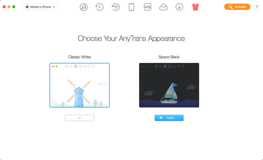 Choose AnyTrans Appearance