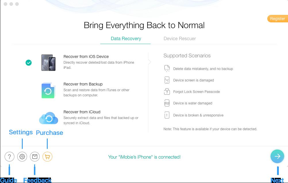 الواجهة الرئيسية لبرنامج PhoneRescue لهواتف Google