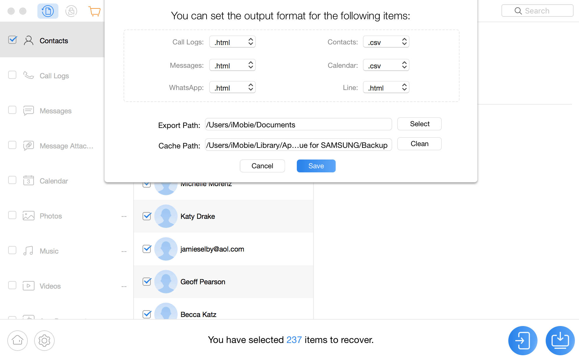 الإعدادات من برنامج PhoneRescue for Android