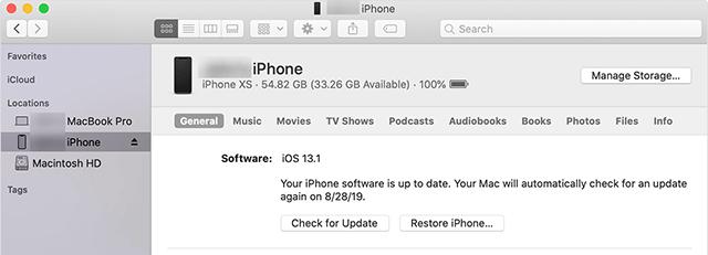 الرجوع إلى إصدار أقدم من iOS باستخدام iTunes / Finder