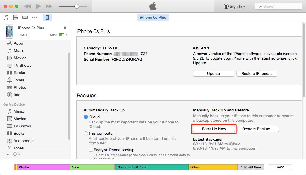 كيفية عمل النسخ الاحتياطي لجهاز iPhone 4/4s/5/5s/5c/6/6s/SE/7 إلى iTunes
