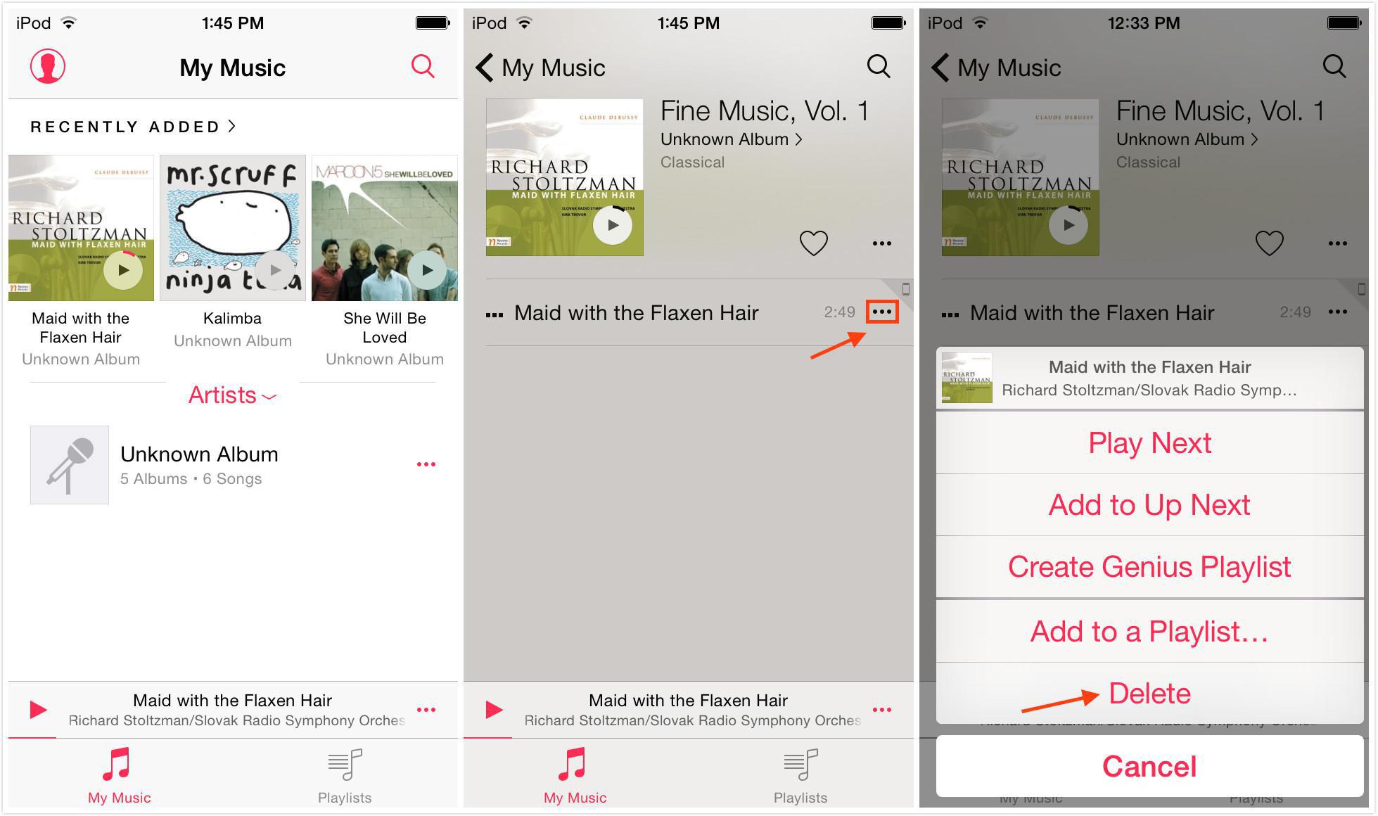 كيفية حذف الأغاني من الـ iPod touch مباشرة