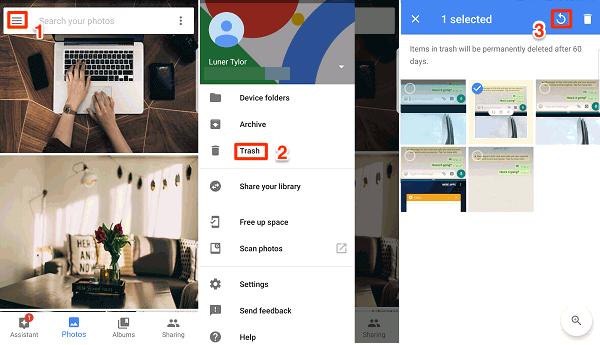 استرجاع الصور المحذوفة على الاندرويد باستخدام تطبيق صور Google