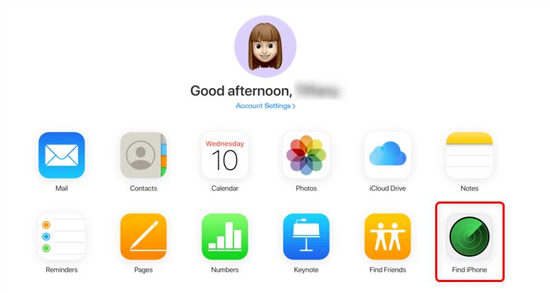 """انتقل إلى iCloud وانقر فوق تطبيق """"العثور على الـ iPhone""""."""