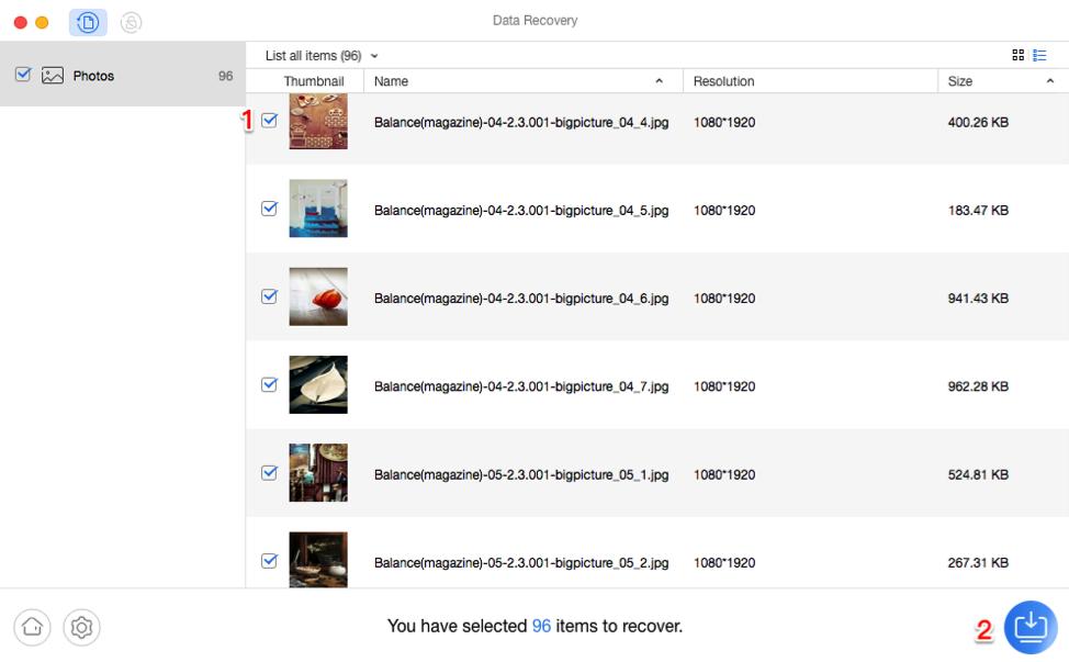 كيفية استرداد الصور المحذوفة من سناب شات باستخدام برنامج PhoneRescue - الخطوة الثالثة