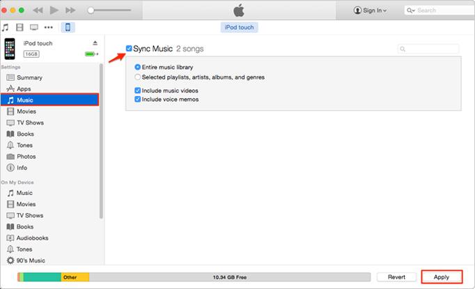 كيفية نقل الموسيقى من الكمبيوتر إلى الـ iPod/iPod touch دون iTunes - الخطوة الثالثة