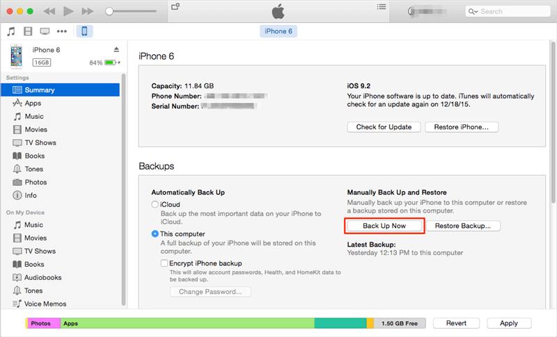 نسخ iPhone احتياطيًا إلى الكمبيوتر باستخدام iTunes