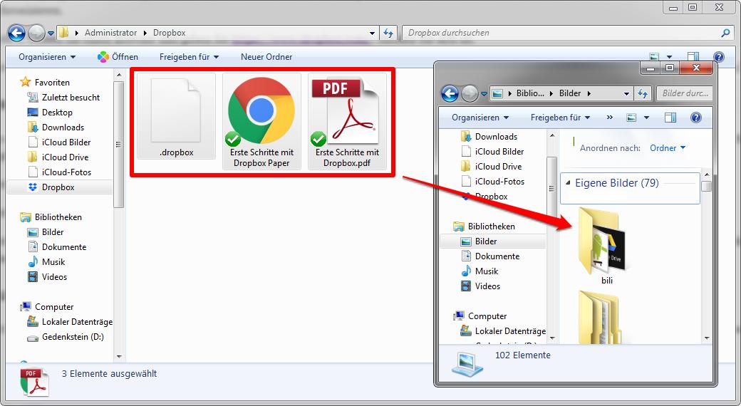 Dropbox auf PC übertragen - Schritt 3
