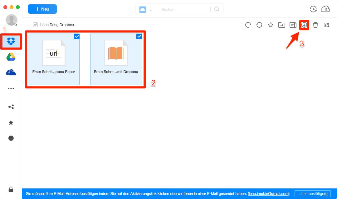 Bilder von Dropbox herunterladen - Schritt 2