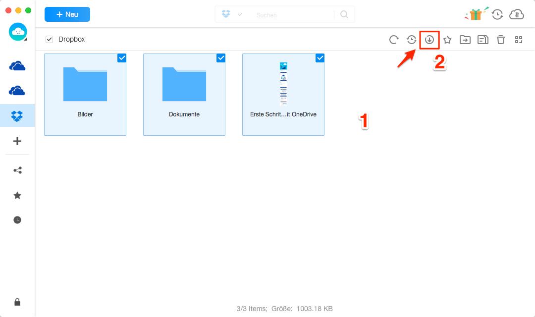 Dateien aus Dropbox herunterladen - Schritt 2