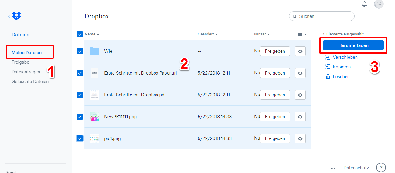 Dropbox Dateien - aus Dropbox.com herunterladen