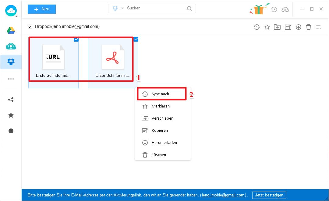 Dropbox Dateien nach Google Drive verschieben - Schritt 2