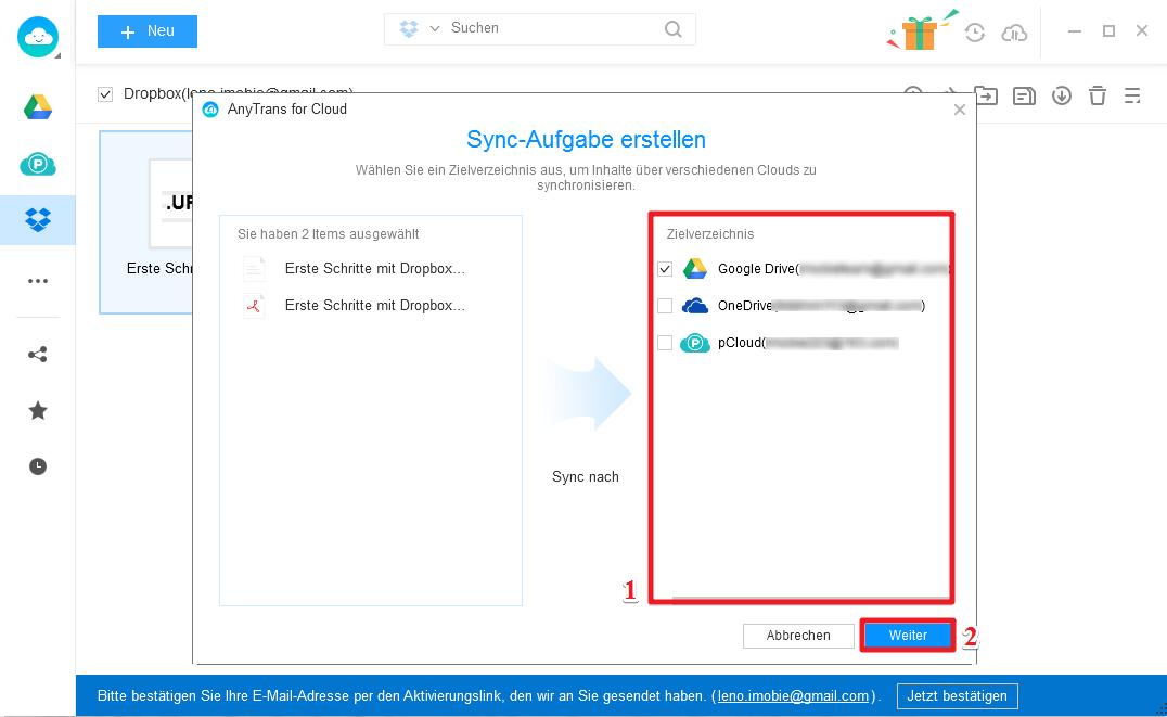 Dropbox in Google Drive importieren - Schritt 3