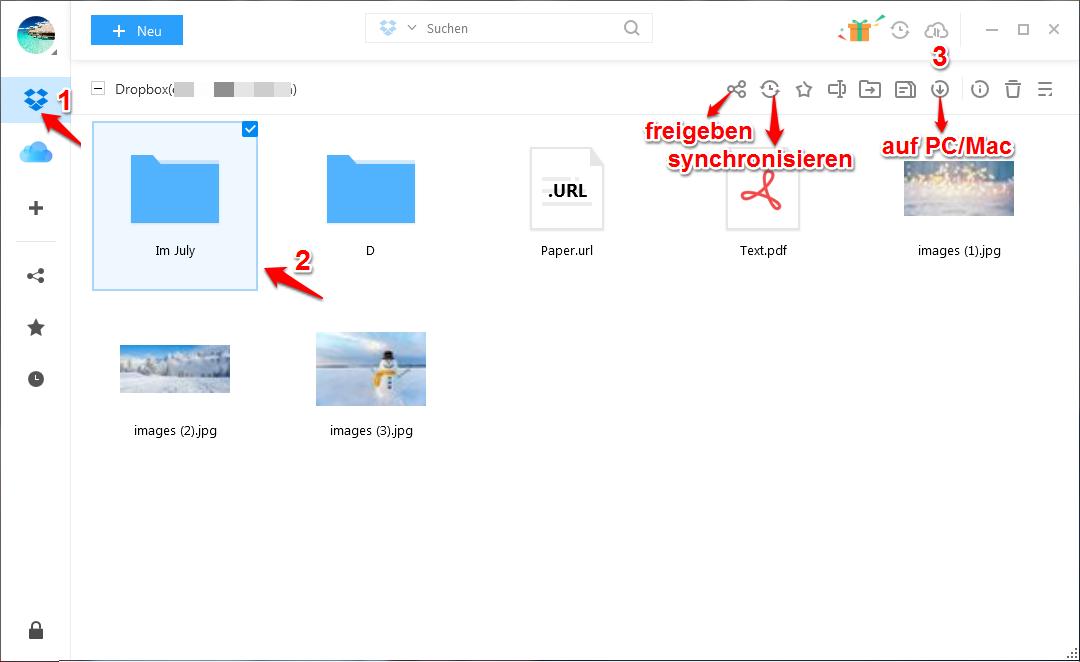 Dropbox teilweise/ganze Ordner herunterladen