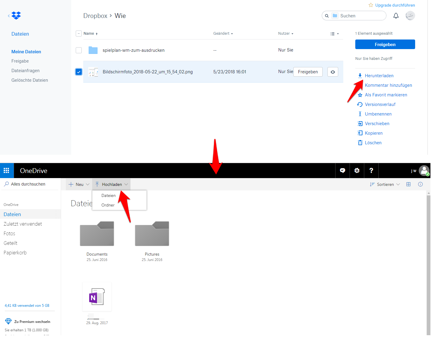 Dropbox to OneDrive - Drag und Drop