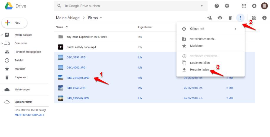 Google Drive Bilder herunterladen – über Google Drive-Website