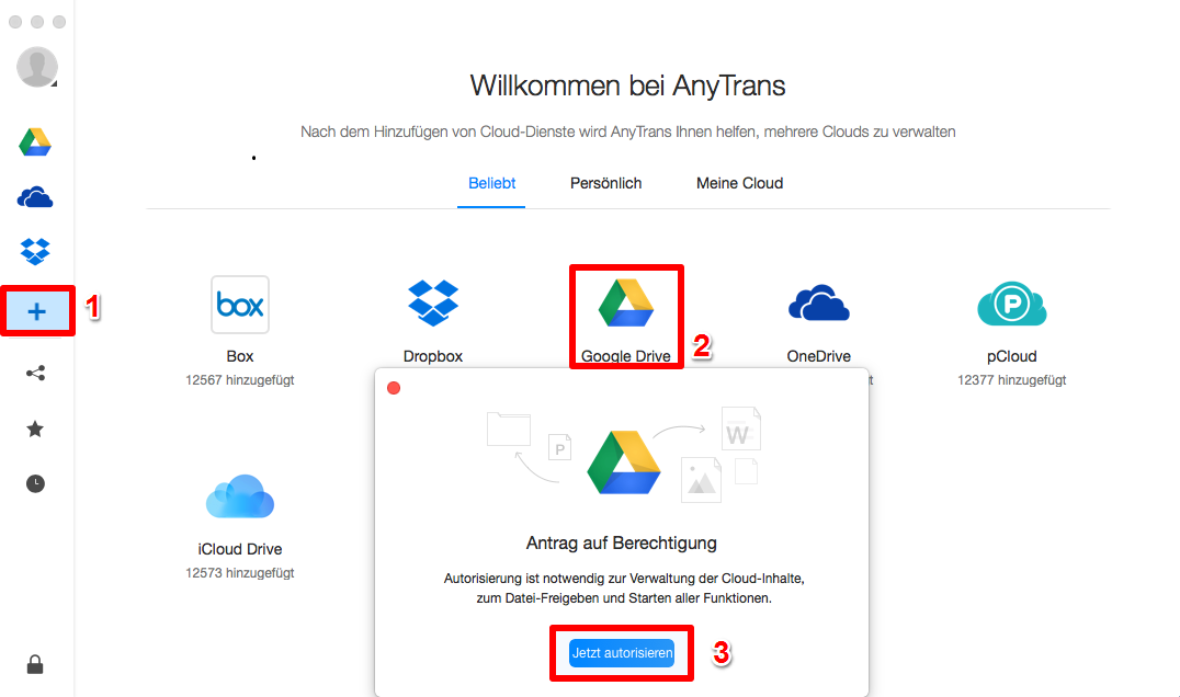 Google Drive auf Dropbox übertragen - Schritt 2