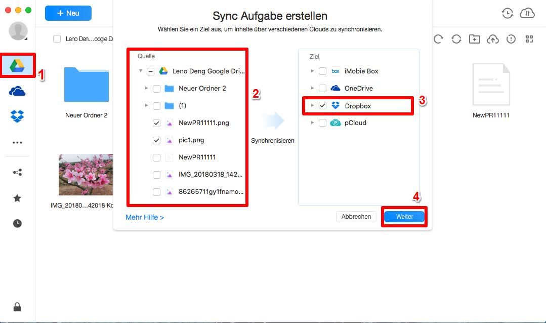 Daten von Google auf Dropbox - Schritt 3