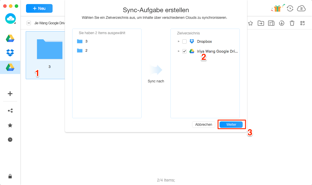 Google Drive multiple Accounts synchronisieren - Schritt 3