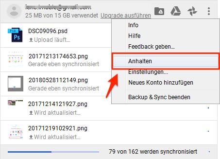 Google Drive synchronisiert nicht automatisch - Sync anhalten