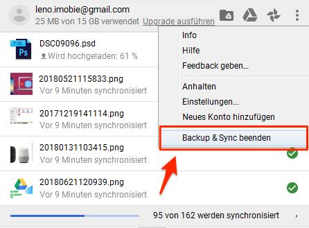 Google Drive synchronisiert nicht - Backup & Sync beenden