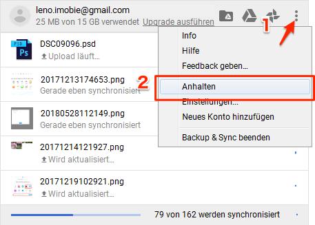 Google Drive upload langsam - Upload neu starten