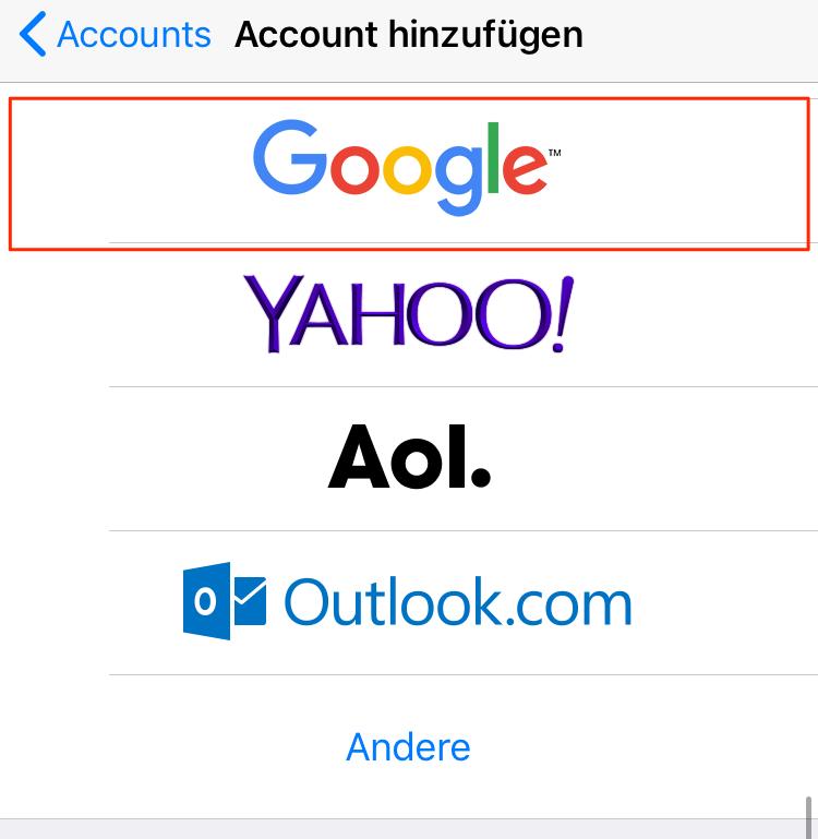 Google Kontakte auf iPhone synchronisieren