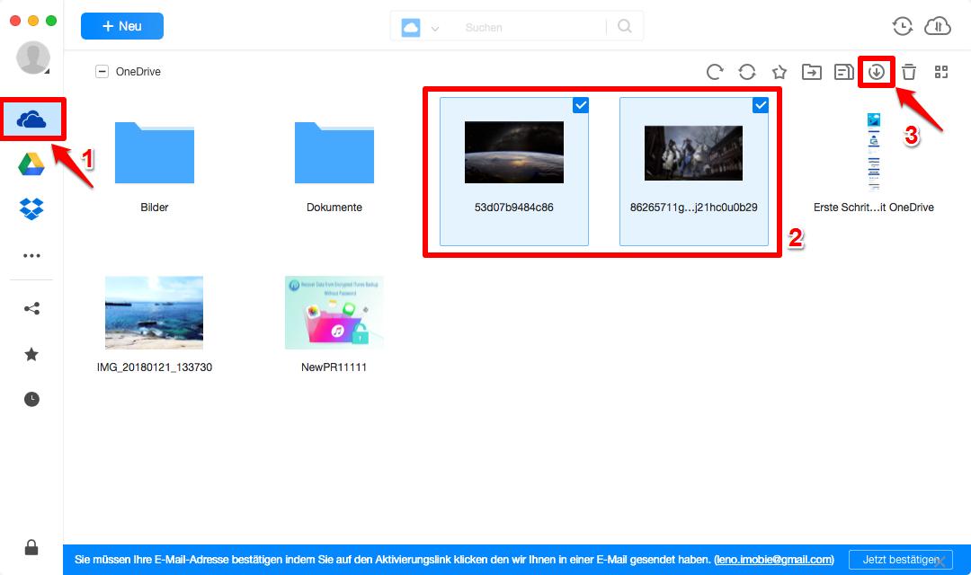 OneDrive Dateien auf PC übertragen - Schritt 2