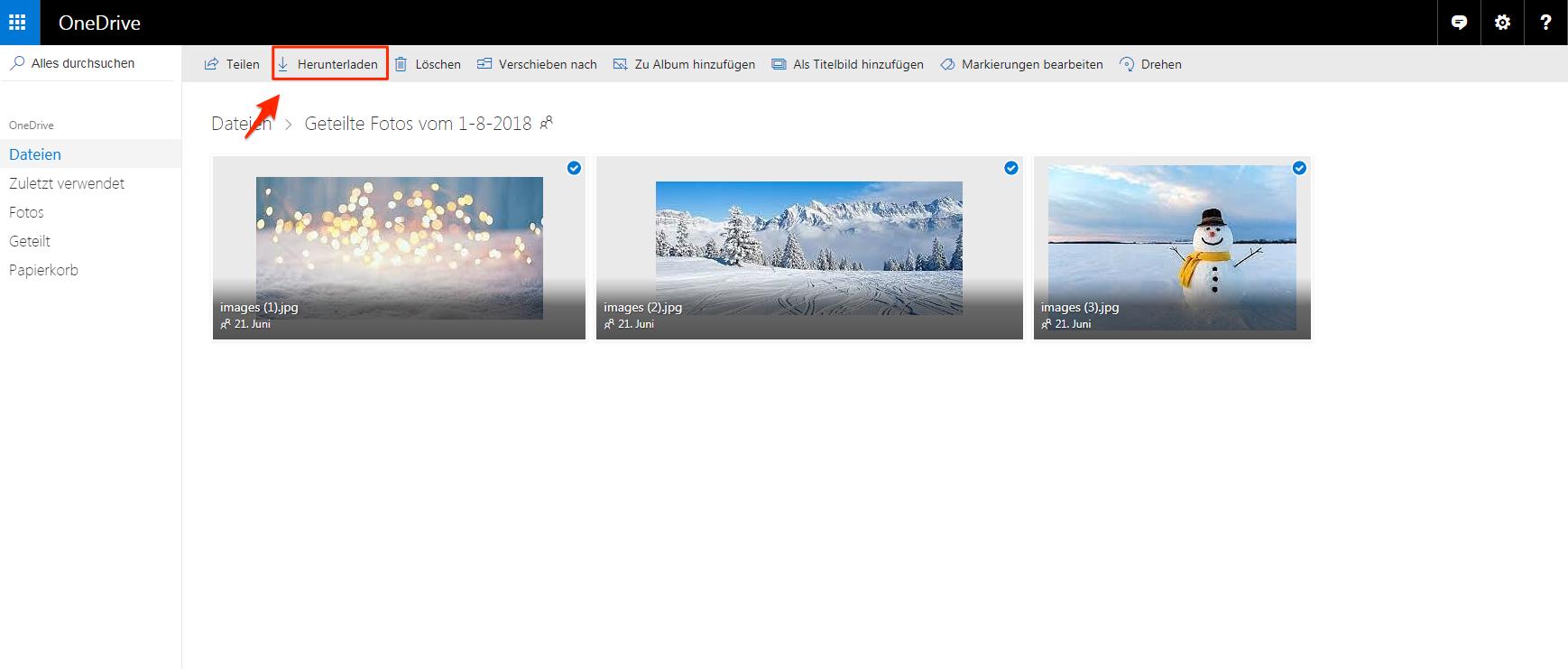 Geteilte Dateien von OneDrive synchronisieren Windows 10