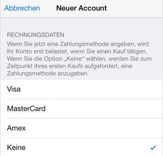 App Store anmelden ohne Kreditkarte – Schritt 4