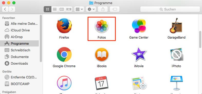 Das Programm Fotos unter dem Mac antippen – Schritt 2