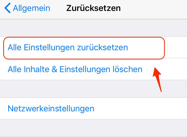 iPhone öffnet Apps nicht - Alle Einstellungen zurücksetzen