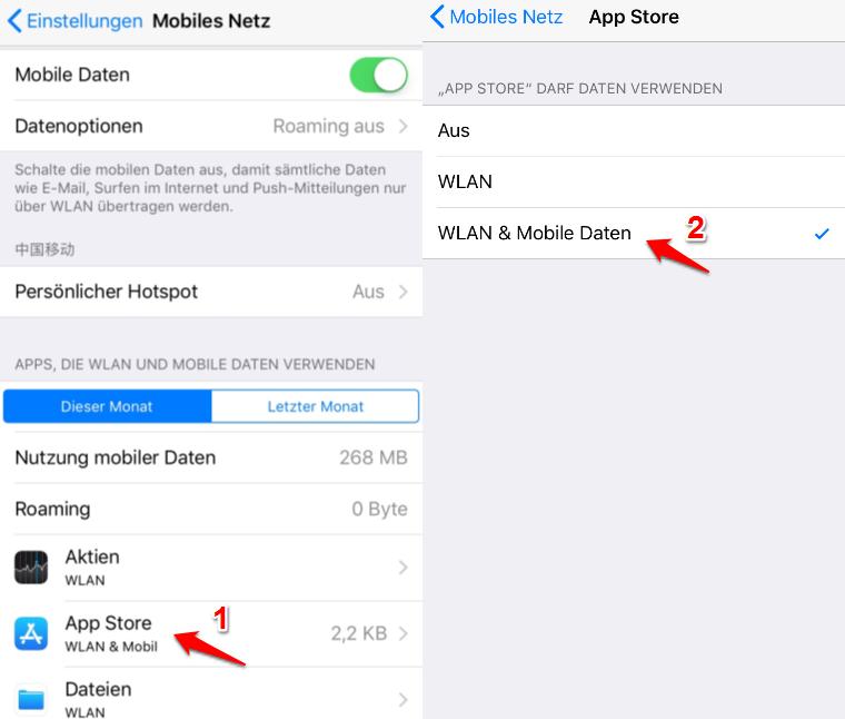 App Store funktioniert nicht – Mobiles Netz überprüfen