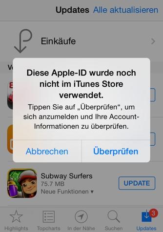 Apple ID wurde noch nicht im iTunes Store verwendet