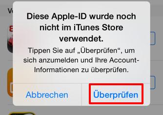 Apple ID wurde noch nicht im iTunes Store verwendet beheben