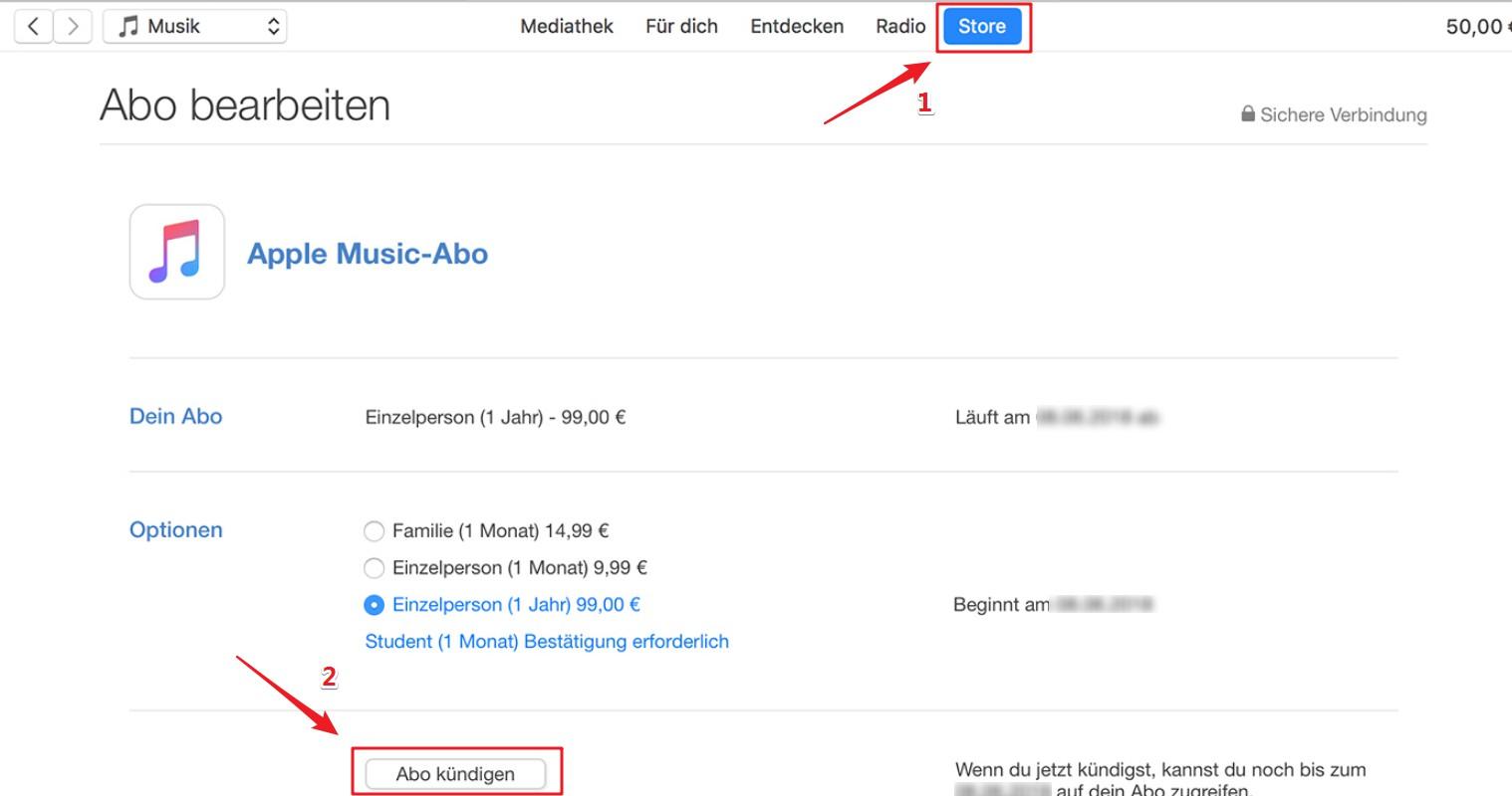 Apple Musik Abo auf iTunes abbrechen