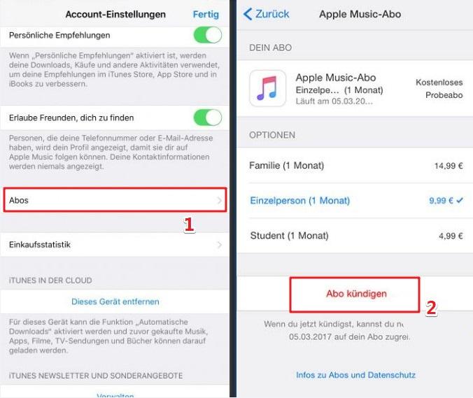 Apple Musik Abo auf iOS Kündigen