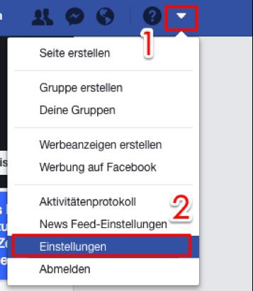 Facebook Daten sichern – Schritt 1