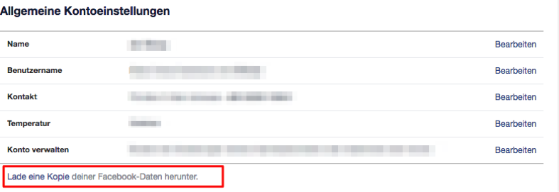 Facebook Daten bzw. Archiv downloaden – Schritt 2
