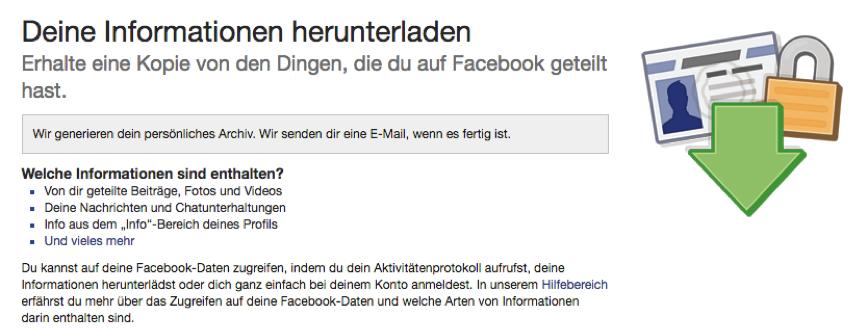 Wie kann man Facebook Daten herunterladen und sichern – Schritt 3