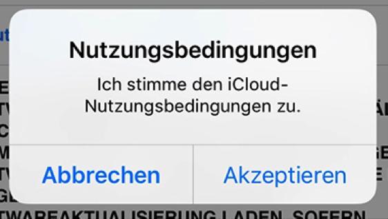iCloud Nutzungsbedingungen akzeptieren geht nicht