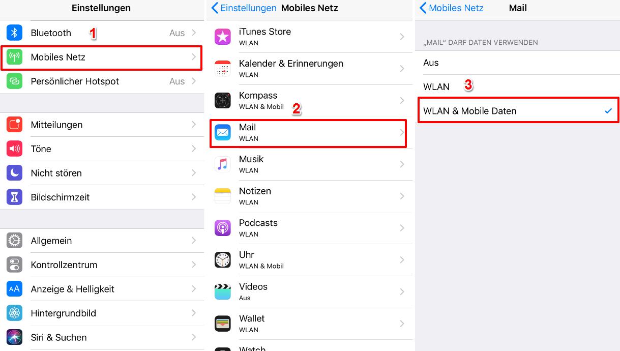 iCloud SMTP-Server funktioniert nicht – Mobiles Netz für Mail einschalten