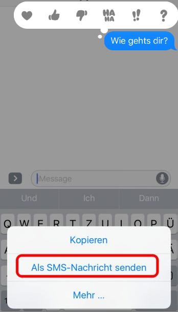 iOS 12/11/10 – iMessage als SMS senden