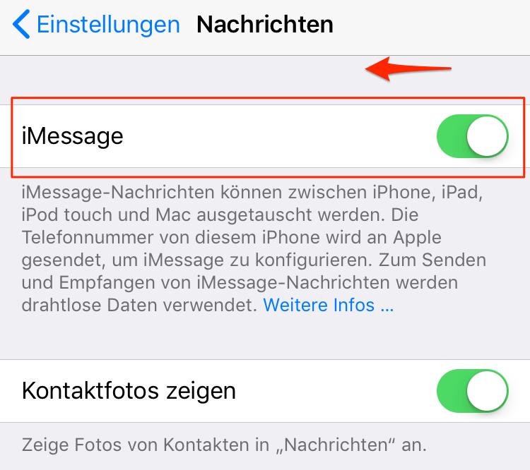 iMessage nicht zugestellt - Tipp 2