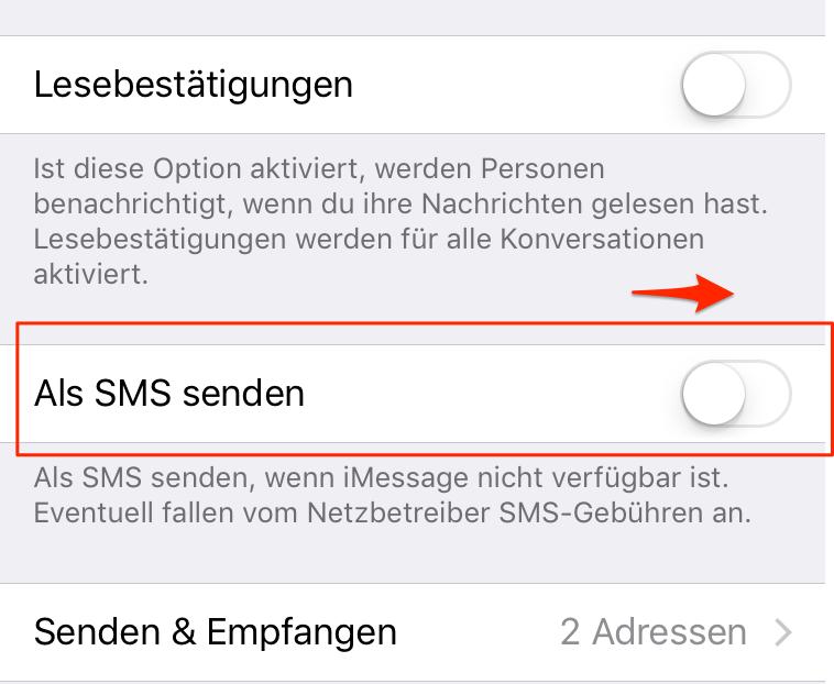 iPhone Nachrichten nicht zugestellt - Tipp 3