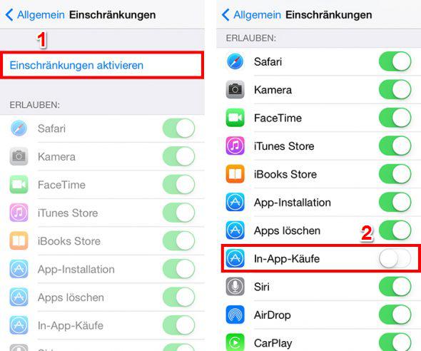 In-App-Käufe deaktivieren iOS 11 – so geht's