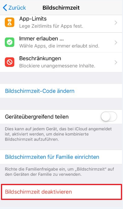 Bildschirmzeit iphone ausschalten
