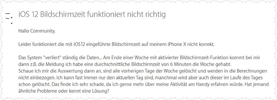 iOS 12 Bildschirmzeit geht nicht