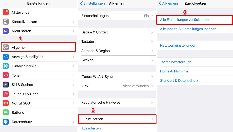 iOS 12 Bildschirmzeit geht nicht – Alle Einstellungen zurücksetzen