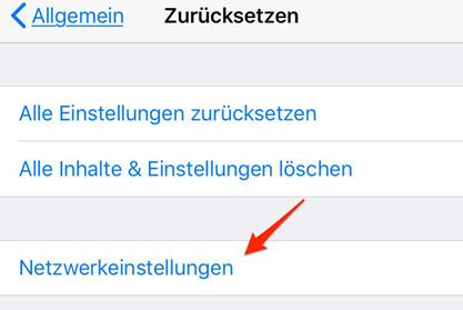 iOS 11 Nummer unterdrückt - Netzwerkeinstellungen zurücksetzen